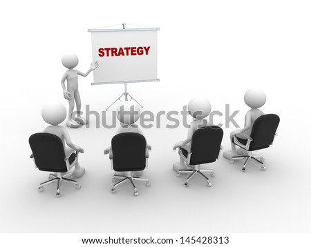 3d people - man, person pointing a flip board. Concept of strategy - stock photo