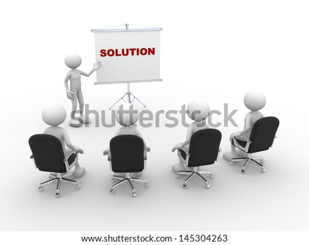 """3d people - man, person  pointing a flip chart and word """"Solution"""" - stock photo"""