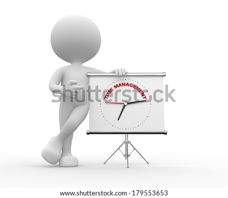 "3d people - man, person  pointing a flipchart with a clock and text ""time to management""  - stock photo"