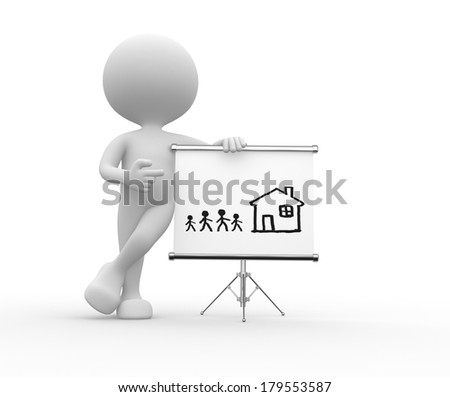 3d people - man, person pointing a flipchart with a drawing - house and family - stock photo