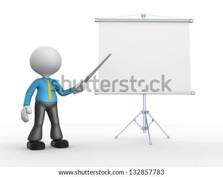 3d people - man, person presenting at flip chart. - stock photo