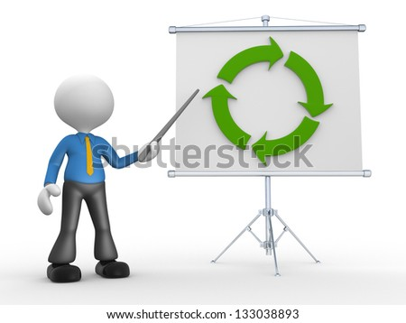 3d people - man, person presenting at flip chart - stock photo