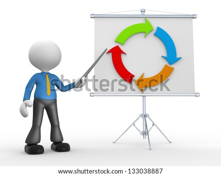 3d people - man, person presenting at flip chart and arrow - stock photo