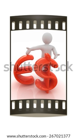 3d people - man, person presenting - dollar and euro sign. The film strip - stock photo