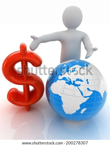 3d people - man, person presenting - dollar with global concept with Earth - stock photo