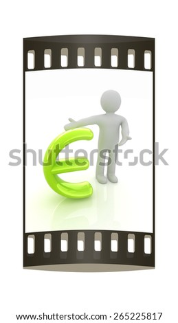 3d people - man, person presenting - euro sign. The film strip - stock photo