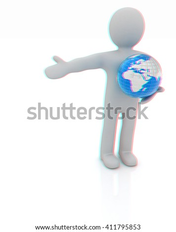 3d people - man, person presenting - pointing. Global concept with earth. 3D illustration. Anaglyph. View with red/cyan glasses to see in 3D. - stock photo