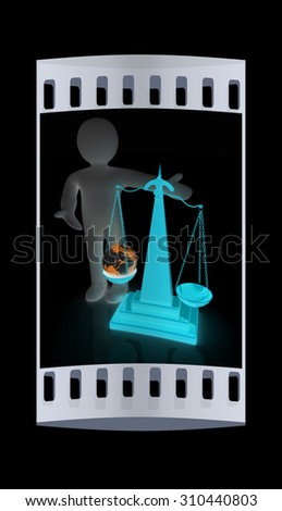3d people - man, person presenting the philosophical concept: Earth lighter than vanity. The film strip - stock photo