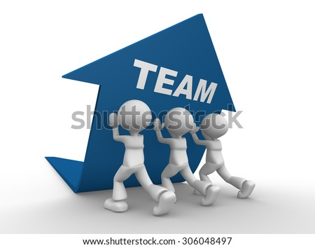 3d people - man, person pushing blue arrow. Teamwork concept - stock photo