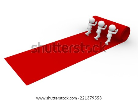 3d people - man, person rolling out the red carpet  - stock photo