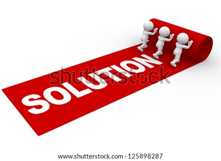 "3d people - man, person rolling out the red carpet and word ""solution"" - stock photo"