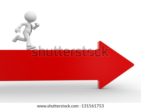 3d people - man, person running the arrow. Success - stock photo