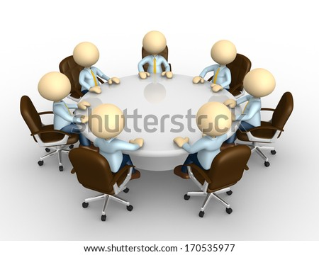 3d people - man, person sitting at a round table and having business meeting - stock photo