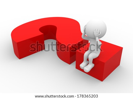 3d people - man, person sitting on a question mark  - stock photo