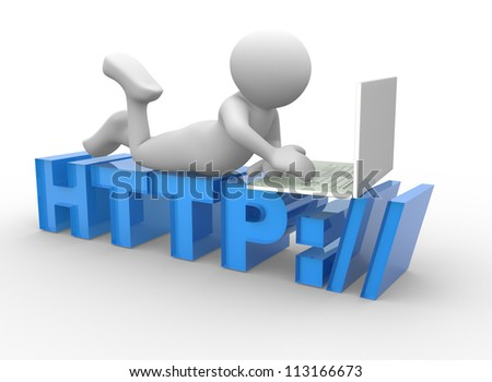 3d people - man, person sitting on HTTP sign with a laptop. Concept of communication - stock photo