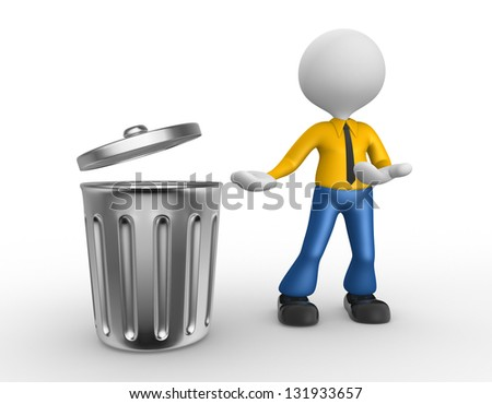 3d people - man, person standing next to a trash can - stock photo