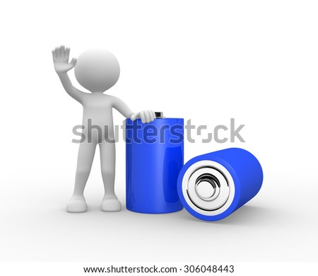 3d people - man, person standing with fully charge energy battery - stock photo