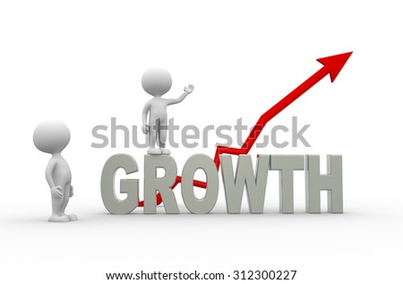 3d people - man , person statistic graph. Success concept.  - stock photo