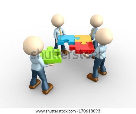 3d people - man, person - team with colored puzzles - stock photo