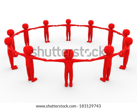 3d people - man, person together. Concept of team. 3d render - stock photo