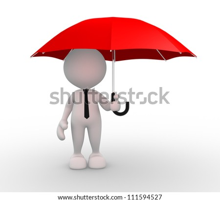 3d people - man, person under red umbrella - stock photo