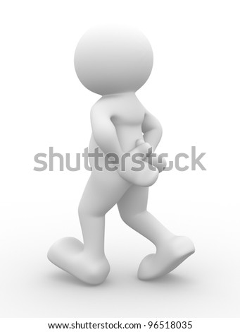 3d people - man, person walking with to hands behind - stock photo