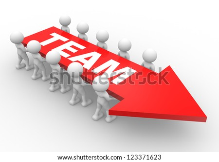 """3d people - man, person with a arrow and word """"team"""".  Concept of teamwork - stock photo"""