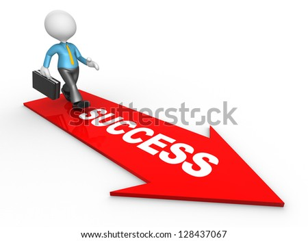 3d people - man, person with a arrow. Success metaphor - stock photo