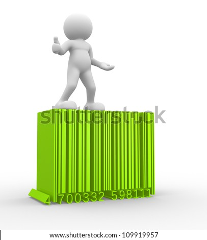 3d people - man , person with a bar code ( barcode ). - stock photo