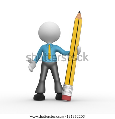 3d people - man, person with a big pencil - stock photo