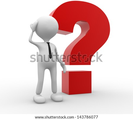 3d people - man, person with a big question mark. Confused. - stock photo