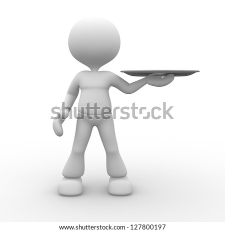 3d people - man, person with a blank tray. - stock photo