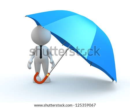 3d people - man, person with a blue umbrella. - stock photo