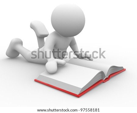 3d people - man , person with a book - stock photo