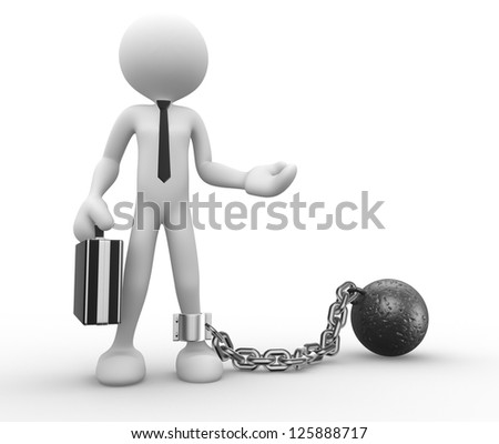 3d people - man, person with a chain ball. Prisoner. Businessman - stock photo