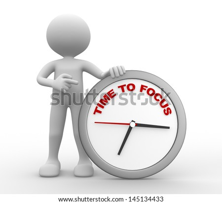 3d people - man, person with a clock. Time To Focus concept. - stock photo