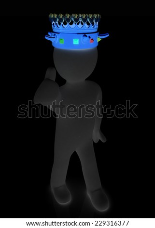 3d people - man, person with a crown. King  - stock photo