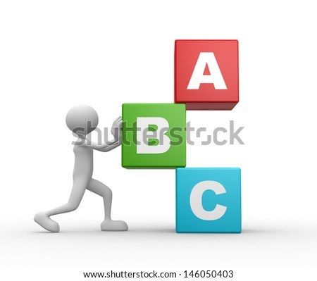 3d people - man, person with a cubes. - stock photo