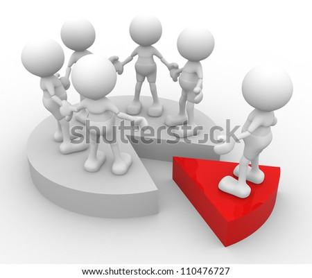 3d people - man, person with a financial chart .  Partnership. - stock photo
