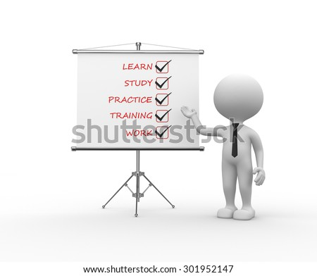 3d people - man, person with a flip chart. Learn, study, practice, training, work - stock photo