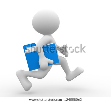 3d people - man, person with a folder, running. Businessman. - stock photo