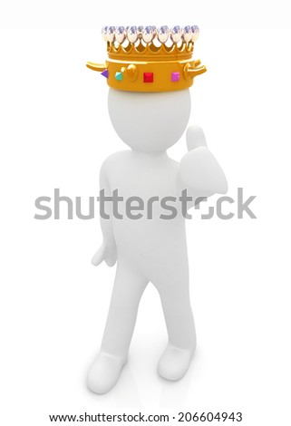 3d people - man, person with a golden crown. King  - stock photo