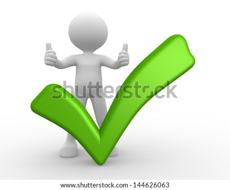 3d people - man, person with a green check mark - stock photo