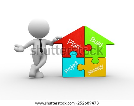 3d people - man, person with a house pieces of puzzle - jigsaw. Conceptual image - stock photo