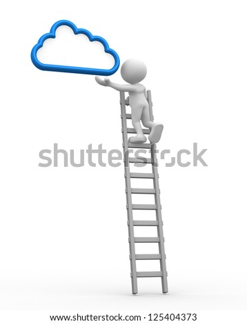 3d people - man, person with a ladder and cloud. Aspiration - stock photo
