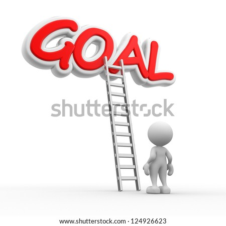 3d people - man, person with a ladder and word GOAL - stock photo