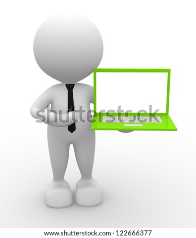 3d people - man, person with a laptop - stock photo