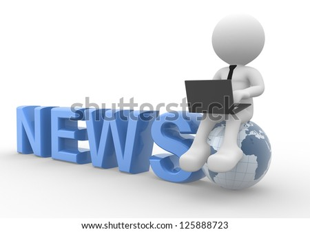 3d people - man, person with a laptop and earth globe. News concept - stock photo