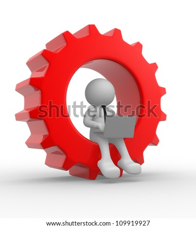 3d people - man , person with a laptop and gear mechanism - stock photo