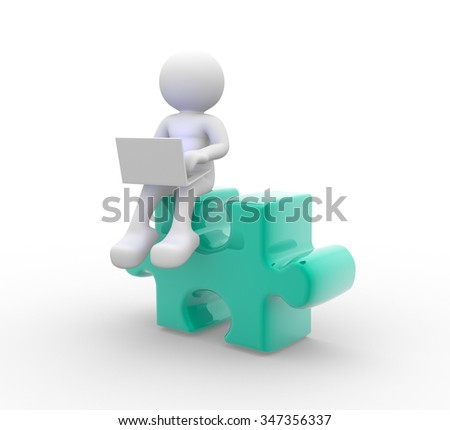 3d people - man, person with a laptop and pieces of puzzle. - stock photo